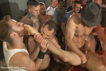 Photo number 10 from Relentlessly flogged, drenched in cum and tickled to the extreme! shot for Bound in Public on Kink.com. Featuring Christian Wilde, Dylan Strokes and Corbin Dallas in hardcore BDSM & Fetish porn.