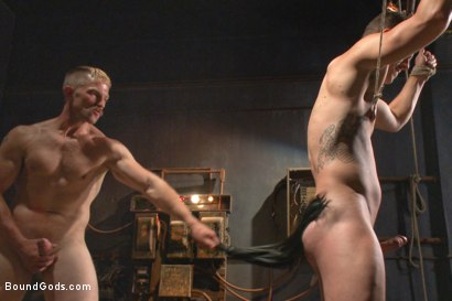 Photo number 9 from New captive bound, beaten and electrified shot for Bound Gods on Kink.com. Featuring Adam Herst and Jed Athens in hardcore BDSM & Fetish porn.