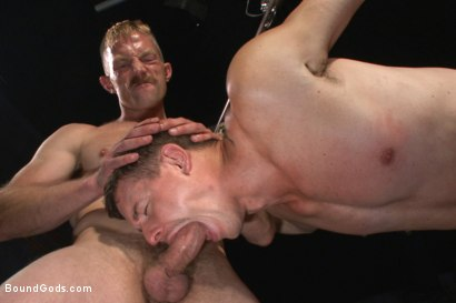 Photo number 13 from New captive bound, beaten and electrified shot for Bound Gods on Kink.com. Featuring Adam Herst and Jed Athens in hardcore BDSM & Fetish porn.
