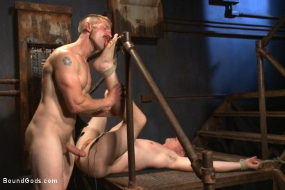 Photo number 4 from New captive bound, beaten and electrified shot for Bound Gods on Kink.com. Featuring Adam Herst and Jed Athens in hardcore BDSM & Fetish porn.