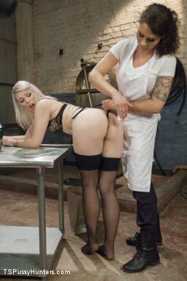 Photo number 4 from Brand New Dom, Riley Quinn in a messy scene with Ella Nova shot for TS Pussy Hunters on Kink.com. Featuring Ella Nova  and Riley Quinn in hardcore BDSM & Fetish porn.