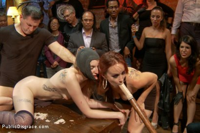 Photo number 9 from Bella Rossi has a brand new plaything! 2 hot red-heads face off! shot for Public Disgrace on Kink.com. Featuring Ela Darling, John Strong and Bella Rossi in hardcore BDSM & Fetish porn.