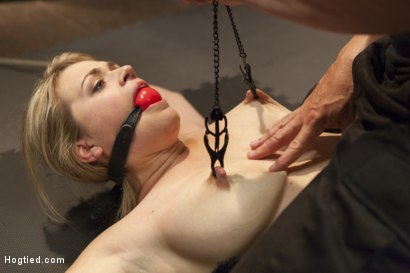 Photo number 2 from Busty Blonde Babe Gets Molested shot for Hogtied on Kink.com. Featuring Winnie Rider in hardcore BDSM & Fetish porn.