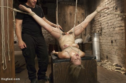 Photo number 8 from Busty Blonde Babe Gets Molested shot for Hogtied on Kink.com. Featuring Winnie Rider in hardcore BDSM & Fetish porn.
