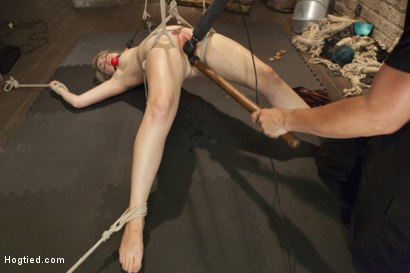 Photo number 1 from Busty Blonde Babe Gets Molested shot for Hogtied on Kink.com. Featuring Winnie Rider in hardcore BDSM & Fetish porn.