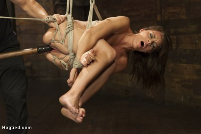 Photo number 9 from All Natural Babe in Heavy Bondage shot for Hogtied on Kink.com. Featuring Kayla West in hardcore BDSM & Fetish porn.