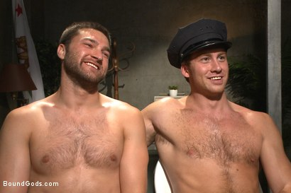 Photo number 15 from Good Cop - Bad Cop shot for Bound Gods on Kink.com. Featuring Connor Maguire and Abel Archer in hardcore BDSM & Fetish porn.