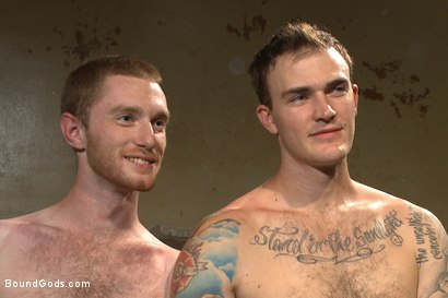 "Photo number 15 from ""What do you have to offer, boy?"" shot for Bound Gods on Kink.com. Featuring Seamus O'Reilly and Christian Wilde in hardcore BDSM & Fetish porn."