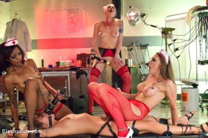Photo number 17 from Sadistic Invasion of the Cum-sucking Zombie Nurses! shot for Electro Sluts on Kink.com. Featuring Chanel Preston, Lotus Lain, Zoey Monroe and Lorelei Lee in hardcore BDSM & Fetish porn.