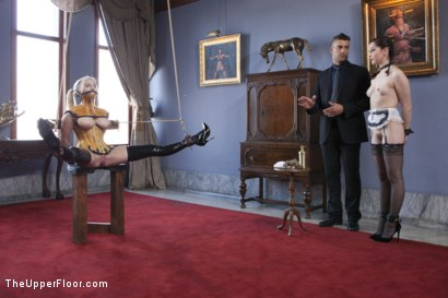 Photo number 2 from The Sex Toy and the New Maid shot for The Upper Floor on Kink.com. Featuring Ramon Nomar, Christie Stevens and Kasey Warner in hardcore BDSM & Fetish porn.