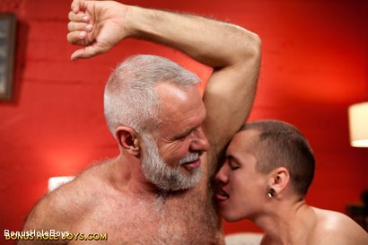 Photo number 9 from Sexual Education: An FTM Daddy Role Play with Allen Silver and James Darling shot for Bonus Hole Boys on Kink.com. Featuring James Darling and Allen Silver in hardcore BDSM & Fetish porn.