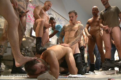 Photo number 3 from Brutally fucked, drenched in piss & covered in cum  shot for Bound in Public on Kink.com. Featuring Christian Wilde, Cameron Kincade and Alexander Gustavo in hardcore BDSM & Fetish porn.