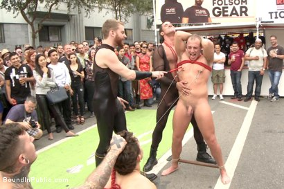 Photo number 7 from Folsom Street Virgin  shot for Bound in Public on Kink.com. Featuring Trenton Ducati, Nick Capra and Jacob Durham in hardcore BDSM & Fetish porn.