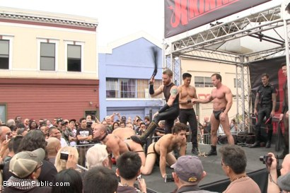 Photo number 1 from Folsom Street Virgin  shot for Bound in Public on Kink.com. Featuring Trenton Ducati, Nick Capra and Jacob Durham in hardcore BDSM & Fetish porn.