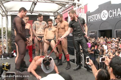 Photo number 7 from Public Whore Doused with Piss on the Folsom Stage shot for Bound in Public on Kink.com. Featuring Trenton Ducati, Nick Capra and Jacob Durham in hardcore BDSM & Fetish porn.
