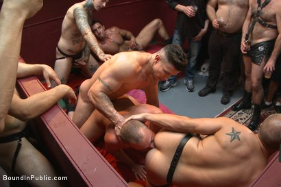 Photo number 12 from Public Whore Doused with Piss on the Folsom Stage shot for Bound in Public on Kink.com. Featuring Trenton Ducati, Nick Capra and Jacob Durham in hardcore BDSM & Fetish porn.