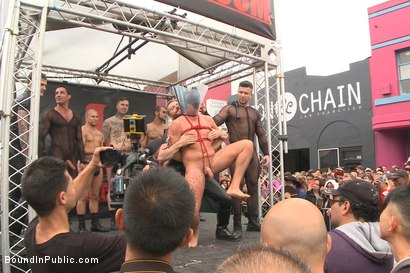 Photo number 5 from Public Whore Doused with Piss on the Folsom Stage shot for Bound in Public on Kink.com. Featuring Trenton Ducati, Nick Capra and Jacob Durham in hardcore BDSM & Fetish porn.