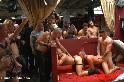 Photo number 9 from Public Whore Doused with Piss on the Folsom Stage shot for Bound in Public on Kink.com. Featuring Trenton Ducati, Nick Capra and Jacob Durham in hardcore BDSM & Fetish porn.