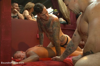 Photo number 10 from Public Whore Doused with Piss on the Folsom Stage shot for Bound in Public on Kink.com. Featuring Trenton Ducati, Nick Capra and Jacob Durham in hardcore BDSM & Fetish porn.