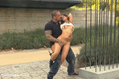 Photo number 8 from Beautiful Spanish Slut Paraded Around Town shot for Public Disgrace on Kink.com. Featuring Rob Diesel and Aris Dark in hardcore BDSM & Fetish porn.