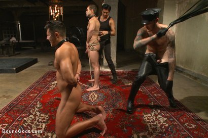 Photo number 9 from Christian Wilde abuses and fucks the boys in the Holiday Live Shoot! shot for Bound Gods on Kink.com. Featuring Christian Wilde, Seth Santoro, Brock Avery and Van Darkholme in hardcore BDSM & Fetish porn.