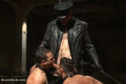 Photo number 3 from Christian Wilde abuses and fucks the boys in the Holiday Live Shoot! shot for Bound Gods on Kink.com. Featuring Christian Wilde, Seth Santoro, Brock Avery and Van Darkholme in hardcore BDSM & Fetish porn.