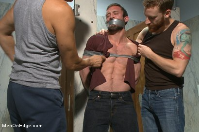 Photo number 1 from Edging a hot cop in a public restroom shot for Men On Edge on Kink.com. Featuring Mike Gaite in hardcore BDSM & Fetish porn.