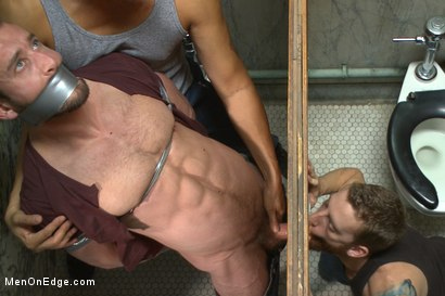 Photo number 13 from Edging a hot cop in a public restroom shot for Men On Edge on Kink.com. Featuring Mike Gaite in hardcore BDSM & Fetish porn.
