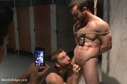 Photo number 14 from Edging a hot cop in a public restroom shot for Men On Edge on Kink.com. Featuring Mike Gaite in hardcore BDSM & Fetish porn.