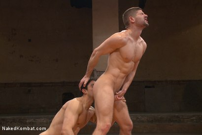 "Photo number 5 from Mikoah ""The Killer"" Kan vs Conner ""The Crippler"" Halsted  shot for Naked Kombat on Kink.com. Featuring Connor Halsted and Mikoah Kan in hardcore BDSM & Fetish porn."