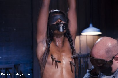 Photo number 10 from Full Throttle - Ebony Babe Suffers Beautifully shot for Device Bondage on Kink.com. Featuring Ana Foxxx and Sgt. Major in hardcore BDSM & Fetish porn.