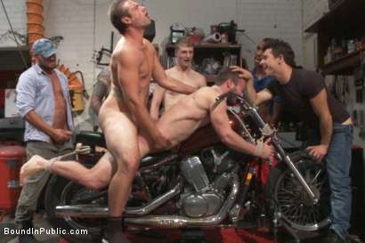 Photo number 11 from Muscled mechanic, bound, fucked from both ends, and doused with cum shot for Bound in Public on Kink.com. Featuring Dylan Strokes and Mike Gaite in hardcore BDSM & Fetish porn.