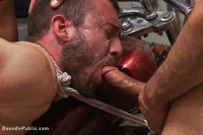 Photo number 12 from Muscled mechanic, bound, fucked from both ends, and doused with cum shot for Bound in Public on Kink.com. Featuring Dylan Strokes and Mike Gaite in hardcore BDSM & Fetish porn.