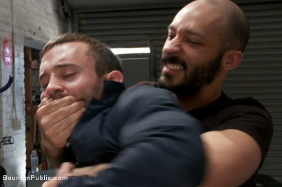 Photo number 1 from Muscled mechanic, bound, fucked from both ends, and doused with cum shot for Bound in Public on Kink.com. Featuring Dylan Strokes and Mike Gaite in hardcore BDSM & Fetish porn.