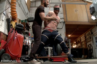 Photo number 2 from Muscled mechanic, bound, fucked from both ends, and doused with cum shot for Bound in Public on Kink.com. Featuring Dylan Strokes and Mike Gaite in hardcore BDSM & Fetish porn.