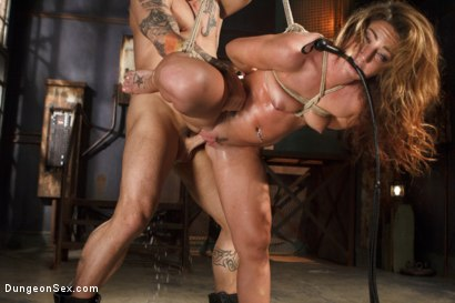 Photo number 7 from Squirting Bondage Sex!! shot for Dungeon Sex on Kink.com. Featuring Derrick Pierce and Savannah Fox in hardcore BDSM & Fetish porn.