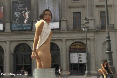 Photo number 6 from Sexy Spanish Slut Chiara fully exposed on the streets of Madrid shot for Public Disgrace on Kink.com. Featuring Chiara Diletto, Princess Donna Dolore and Steve Holmes in hardcore BDSM & Fetish porn.