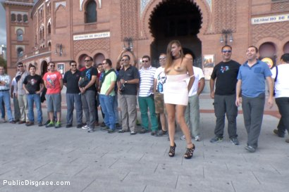 Photo number 3 from Saucy Spanish Slut Dragged Around the Streets of Madrid shot for Public Disgrace on Kink.com. Featuring Camil Core, Sandra Romain and Steve Holmes in hardcore BDSM & Fetish porn.