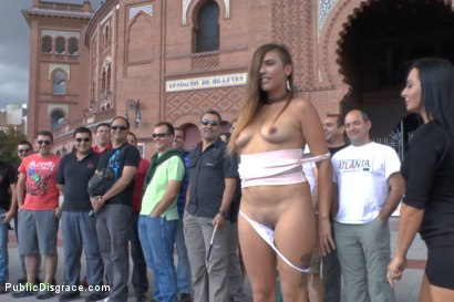 Photo number 4 from Saucy Spanish Slut Dragged Around the Streets of Madrid shot for Public Disgrace on Kink.com. Featuring Camil Core, Sandra Romain and Steve Holmes in hardcore BDSM & Fetish porn.