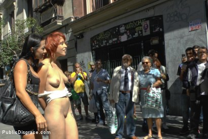 Photo number 4 from Redheaded slut beautifully disgraced on streets of Madrid shot for Public Disgrace on Kink.com. Featuring Lilyan Red, Sandra Romain and Steve Holmes in hardcore BDSM & Fetish porn.