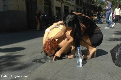 Photo number 9 from Redheaded slut beautifully disgraced on streets of Madrid shot for Public Disgrace on Kink.com. Featuring Lilyan Red, Sandra Romain and Steve Holmes in hardcore BDSM & Fetish porn.