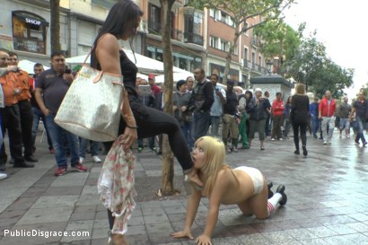 Photo number 4 from Japanese Slut is humiliated and put on display in Madrid shot for Public Disgrace on Kink.com. Featuring Mitsuki Sweet, Sandra Romain and Steve Holmes in hardcore BDSM & Fetish porn.