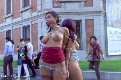 Photo number 5 from EVERY Slave Pussy Disgraced in Public European Fuckfest! shot for Public Disgrace on Kink.com. Featuring Coral Joice, Julia de Lucia, Sandra Romain and Steve Holmes in hardcore BDSM & Fetish porn.
