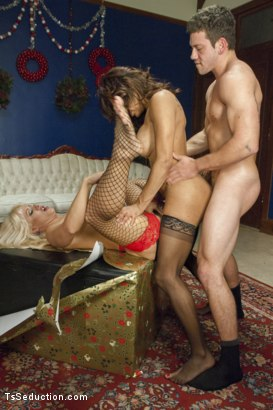 Photo number 8 from Wife Swapping, Husband Swapping, Creampie Christmas Threesome shot for TS Seduction on Kink.com. Featuring Jessy Dubai , Reed Jameson and Holly Heart in hardcore BDSM & Fetish porn.
