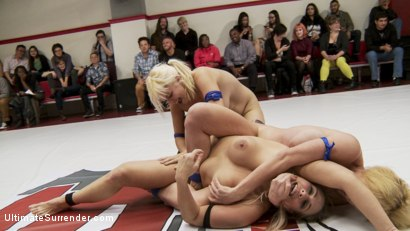 Photo number 1 from Big Tittied Blond Tag Team Match UP shot for Ultimate Surrender on Kink.com. Featuring Dee Williams, Holly Heart, Angel Allwood and Alice Frost in hardcore BDSM & Fetish porn.
