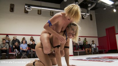 Photo number 11 from Big Tittied Blond Tag Team Match UP shot for Ultimate Surrender on Kink.com. Featuring Dee Williams, Holly Heart, Angel Allwood and Alice Frost in hardcore BDSM & Fetish porn.