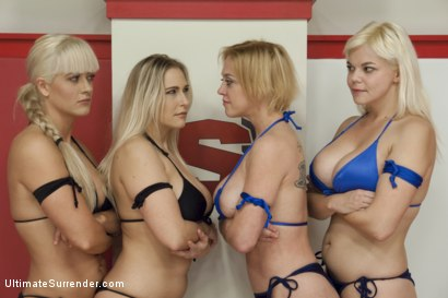 Photo number 15 from Big Tittied Blond Tag Team Match UP shot for Ultimate Surrender on Kink.com. Featuring Dee Williams, Holly Heart, Angel Allwood and Alice Frost in hardcore BDSM & Fetish porn.