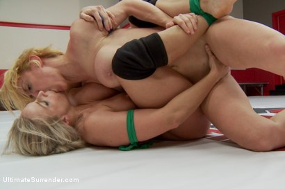 Photo number 8 from Two gorgeous Blonds go tit to tit in extreme competitive wrestling shot for Ultimate Surrender on Kink.com. Featuring Dee Williams and Angel Allwood in hardcore BDSM & Fetish porn.
