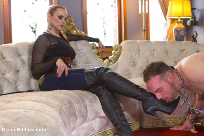 Photo number 2 from Prostate Milking In Musky Blue Jeans shot for Divine Bitches on Kink.com. Featuring Jimmy Bullet and Bella Rossi in hardcore BDSM & Fetish porn.