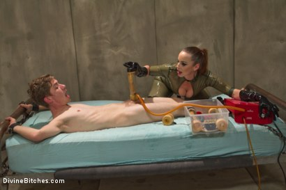Photo number 13 from Bella Breaks in a New Toy at the Divine Bitches Milking Facility! shot for Divine Bitches on Kink.com. Featuring Bella Rossi and Sam Solo in hardcore BDSM & Fetish porn.